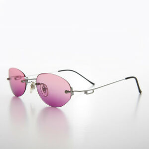 90s Rimless Oval Pink / Purple Ocean Colored Lens Sunglass - Playa
