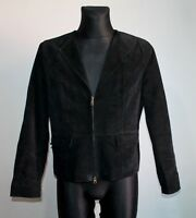 JOFAMA Sweden Black Jacket Real Leather Suede Womens Ladies Casual Size 46 EU M