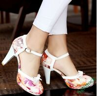 Sweet Women's Ankle Strap High Heels Pumps Round Toe Shoes Plus Size US4.5-11.5