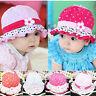 Cute Baby Infant Girls Sun Flower Hat Polka Dot Hearts Cotton Summer Cap 3-24 M
