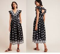 Anthropologie Tomine Embroidered Eyelet Midi Dress XL new nwt