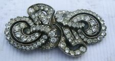 BROCHE ANCIENNE A SYSTEME METAL ARGENTE  STRASS 1900 ANTIQUE FRENCH BROOCH N2470