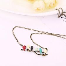 New Colorful Birds On A Branch Pendant Necklace Long Chain Statement Bib Jewelry