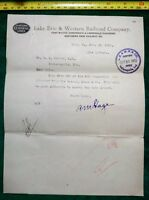 Vintage  Early 1900's Lake Erie & Western Railroad Co. Documents