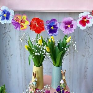 Pansy Flower Bunting Quirky Garland Party Wedding Easter Spring Ostara Decor