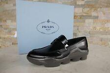PRADA Gr 36 Zapatillas Mocasines zapatos Zapatos negro gris NUEVO