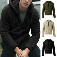 Mens Pullover Fur Hooded Winter Fluffy Hoodies Fleece Coat Jacket Warm Outwear