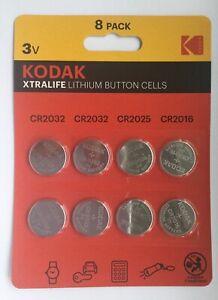 KODAK LITHIUM BUTTON CELL BATTERIES XTRA LIFE CR2032 CR2025 CR2016 (8 Button Cel