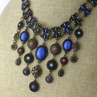 Vintage retro style flower and bead tassel chandelier necklace