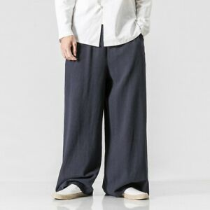 Mens Wide Leg Loose Fit Straight Pants Trousers Chinese Style Slacks Linen Pants