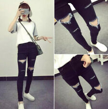 New Womens Stretch Skinny Jeans Boyfriend Ripped Distressed Denim Pants Trousers