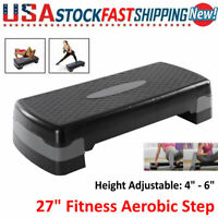 """27"""" Fitness Aerobic Step Cardio Pedal Stepper Adjust 4""""-6"""" for Exercise Training"""