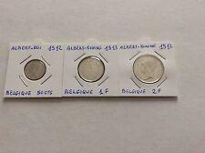 3 pièces en argent Roi Albert - 50 cts 1912 - 1 F 1913 - 2 F 1912