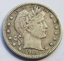 More details for usa 1911 vf barber quarter silver dollar coin