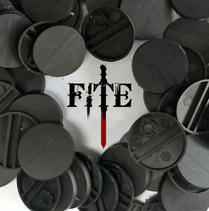 25mm round plain black plastic bases for Infinity Warhammer wargaming quality UK