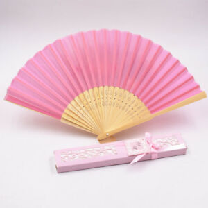 Wedding Guest Gift Beach Theme Chinese Silk Fan Souvenir Table Favour Paper Box