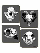 Calvaria 4 Piece Coaster Set - Animals Skulls - Gothic Wicca Pagan -Cork Backed
