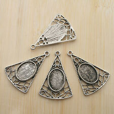 10pcs 33x22mm antiqued silver Triangle cabochon settings charms G397