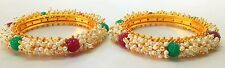 Indian Bangles Jewellery Royal Pearl Set Copper Gold Plated Set of 2 size 2.10.