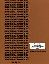 Marantz 2110 AM/FM Stereophonic Tuner User Manual Reproduction