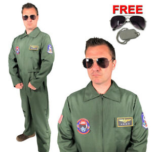 Mens Flight Suit Top Aviator Costume Gun Pilot Flying Uniform Fancy Dress 1980s