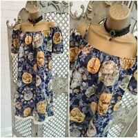 Elsta By CSN New £30 Greek Coin Print Cotton Peasant Fringe Tunic Dress  L Boho