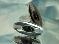 PAT Numbered Large Oval Silver Black Onyx Lucite Vintage 80's Cuff Links 756my0