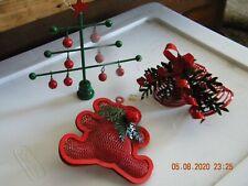 Lot Of 3 Department 56 Metal Ornaments - Tree/Bear/Double Bells - Jingle Bells!