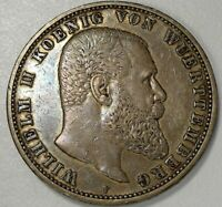 1901 WURTTEMBERG GERMANY 5 MARKS SILVER CROWN SIZE COIN ORIGINAL XF+ #538