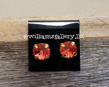Authentic Swarovski 8mm Tangerine Crystal Earrings by Shelia White - Studs