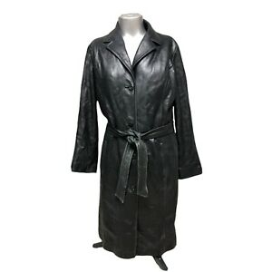 Vintage WILSONS LEATHER Long Leather Black Trench Coat Women's Large