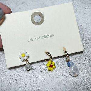 BN Urban Outfitters Kitsch Flower Beaded Mis Match Hoop Earrings Set Hoops Y2K