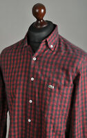 Men's LACOSTE Casual Shirt Long Sleeve Cotton Red/Black Checked Size 39