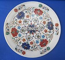 """12"""" White Marble Inlay Plate For Home Decor Floral Multi Stone Kitchen Art H4053"""