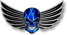 WINGED Biker SKULL wings & Electric Blue Flames Effect car bike sticker Decal