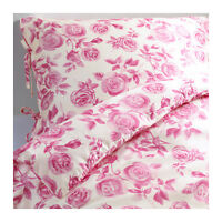 Quilt Duvet Cover pillowcase IKEA EMELINA ROS Floral Pink White Rose TWIN Lyocel