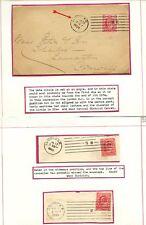 GB MACCHINA Annulla 1902-04 COLUMBIA angolato dater + 3 diversi PERFINS