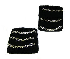 Goth Punk Black W/ Silver Chains 3 lines Swetband Cool Wristband Pair