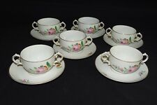 KPM Germany 6 Bouillon Cups & Saucers -Large Pink Rose w/ Red -Smooth Edge