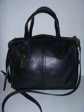 Fossil BLACK Leather EMMA SATCHEL Bag Purse  ZB6847
