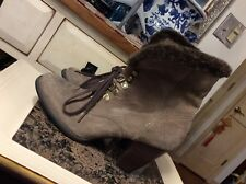 Clarks Indigo Sz 8.5 M US Women's West Heel Suede Faux Fur Cuff Ankle Boots