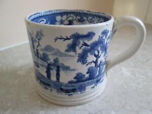 ANTIQUE  PEARLWARE - BLUE & WHITE TRANSFER  MUG   C.1840