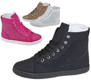 Womens Fur Linned Ankle Boots Ladies Diamante Embellished Lace Up Winter Shoes