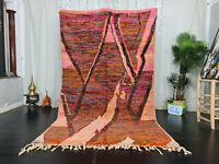 "Vintage Moroccan Boujad Handmade Rug 5'3""x9 Abstract Colorful Wool Berber Carpet"