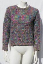 Hand Knit Women's Purple Green Pink Soft Fuzzy Mohair Sweater Top size S M EUC