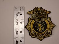 Harley Davidson Motorcycles Firefighters Black Gold Patch Embroidered