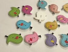 Cute Wooden Bird Buttons 8pcs x 25mm Aussie Seller