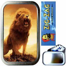 LION ROAR SMOKING SET, SILVER 1oz TOBACCO TIN, ZIG ZAG PAPERS & FILTERS