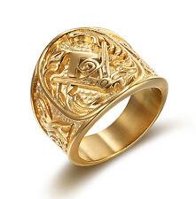 Titanium Steel Gold Plated Freemasonry Masonry Mason Men's Ring Size 10 M91