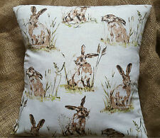 "Countryside Animals 'Hare' Print Cotton Fabric Cushion Cover 16"" x 16"""